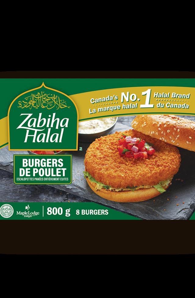 Un emballage de burgers de poulet panés surgelés