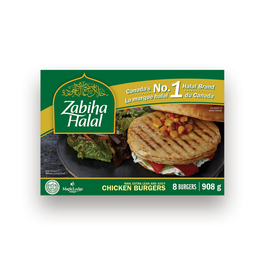 A package of frozen Chicken Burgers