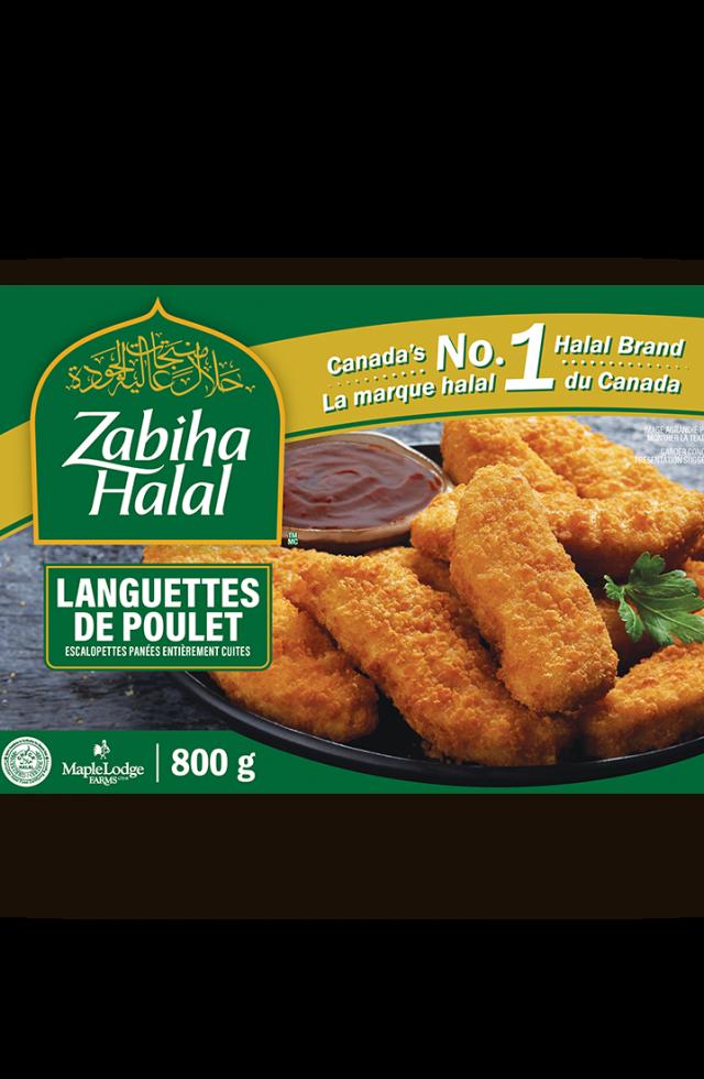 Un emballage de lanières de poulet surgelées