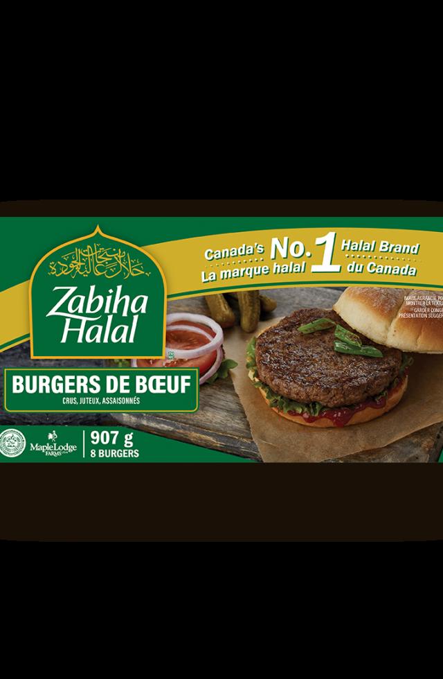 Un emballage de burgers de bœuf surgelés