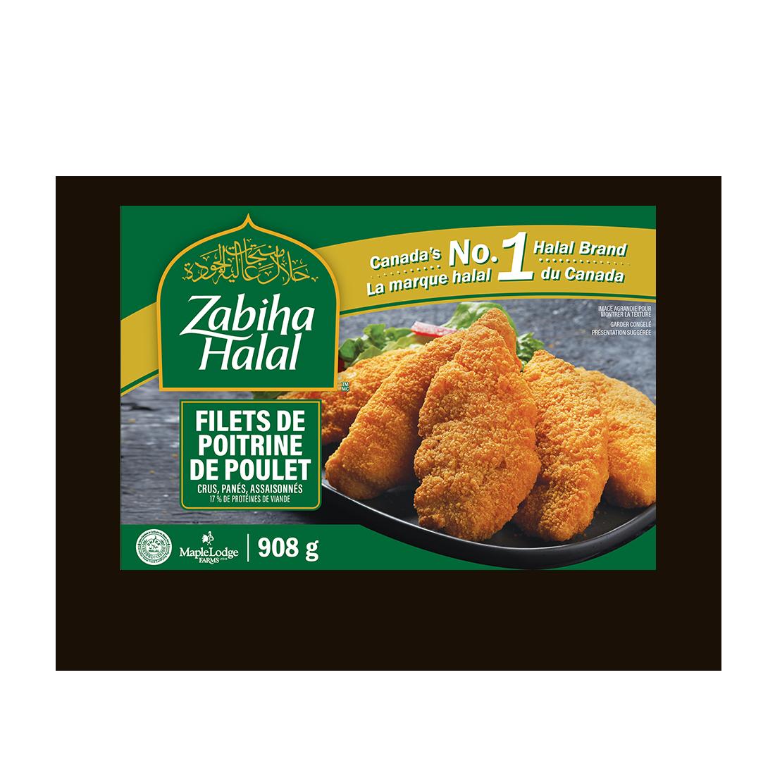 Un emballage de filets de poitrine de poulet surgelés