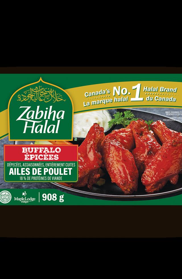 Un emballage d'ailes de poulet genre buffalo épicées surgelées
