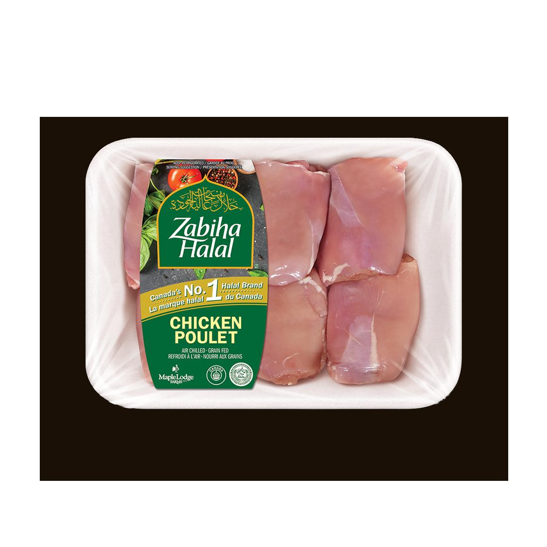 Un emballage de hauts de cuisse de poulet, sans peau, désossés