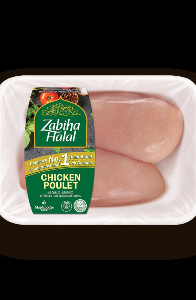 Un emballage de poitrines de poulet fraîches, sans peau, désossées