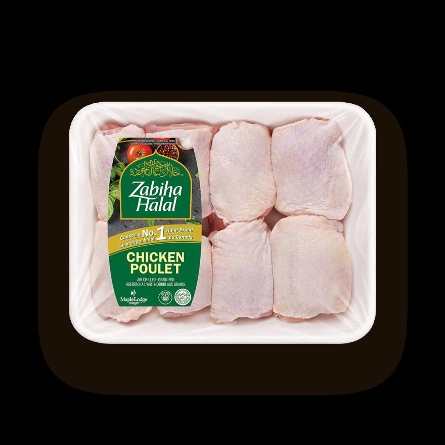 Un emballage de hauts de cuisse de poulet frais