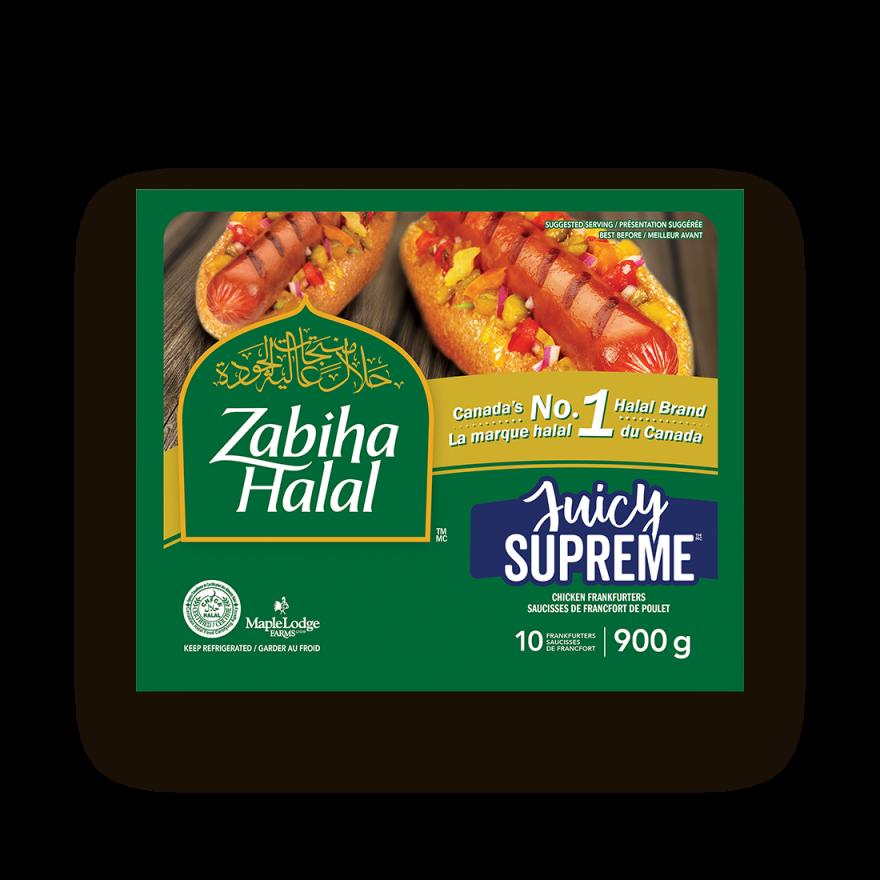 A package of Juicy Supreme Chicken Frankfurters