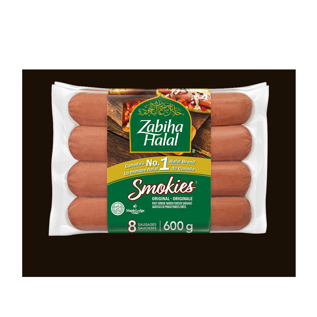 Un emballage de saucisses fumées : Saucisses fumées de poulet cuites