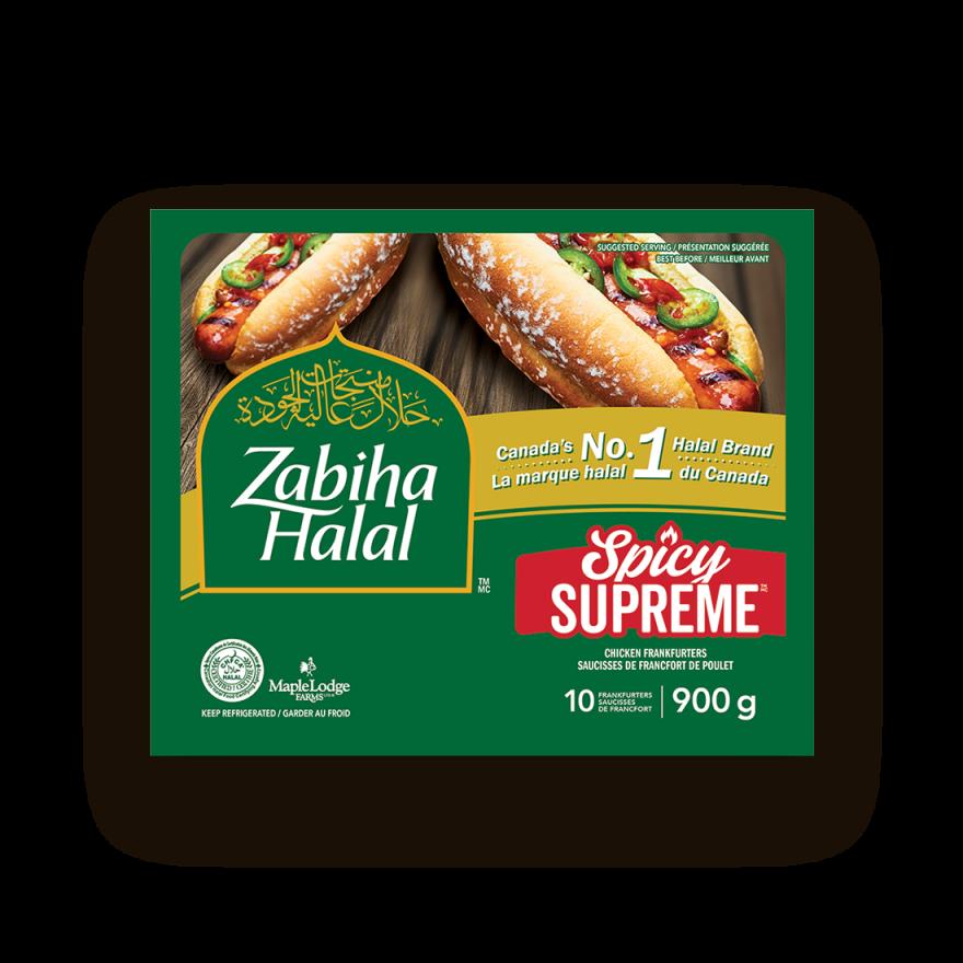 Un emballage de saucisses de Francfort de poulet Spicy Supreme