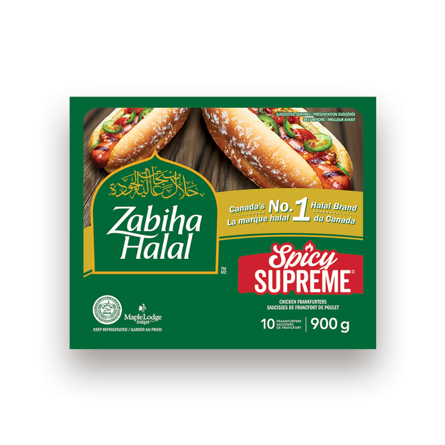 A package of Spicy Supreme Chicken Frankfurters
