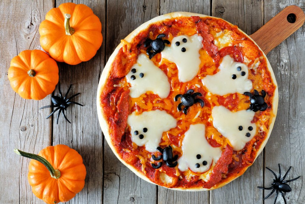Cheese ghost halloween pizza