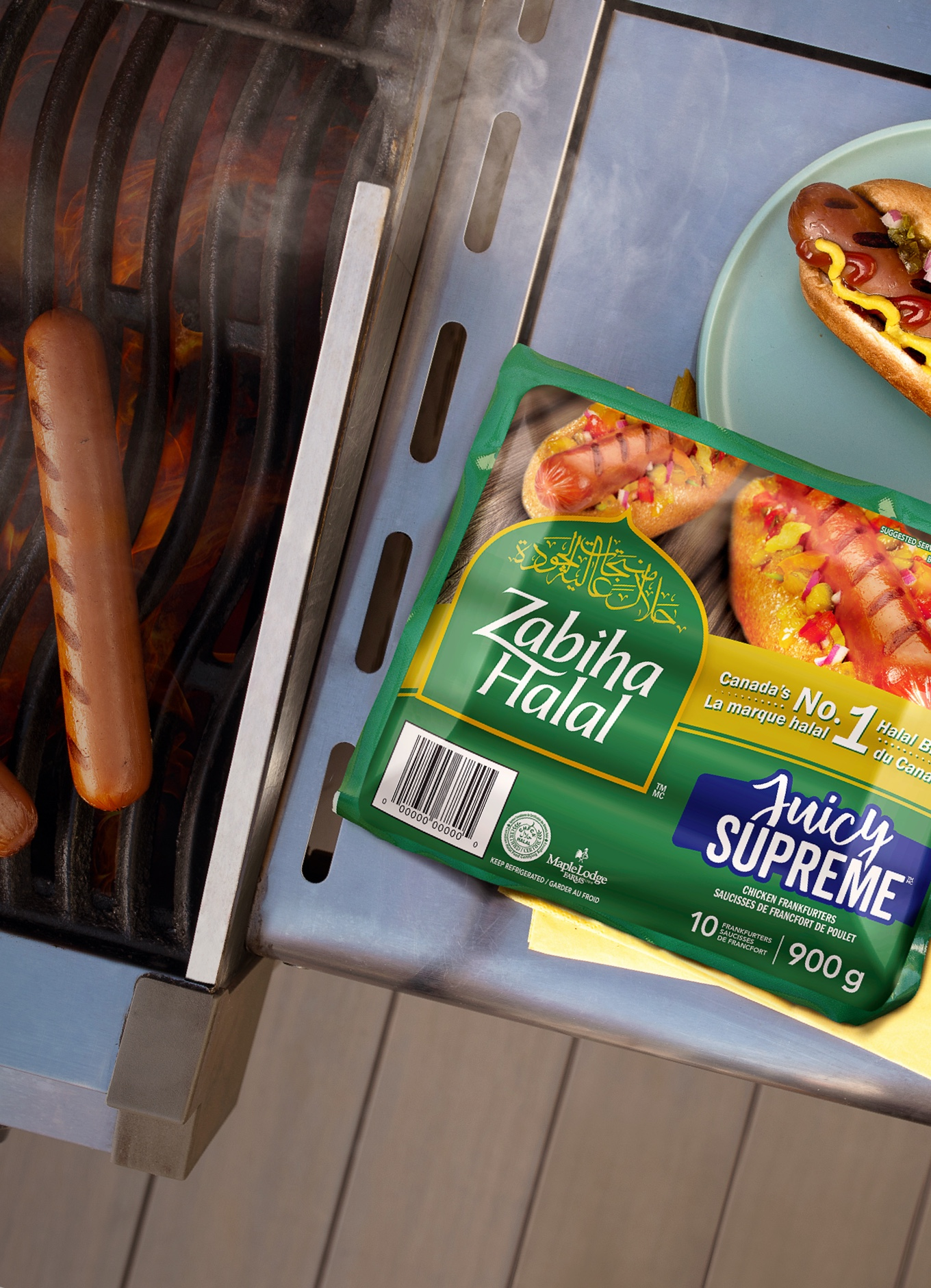 A package of Zabiha Halal Juicy Supreme Franks on a barbecue